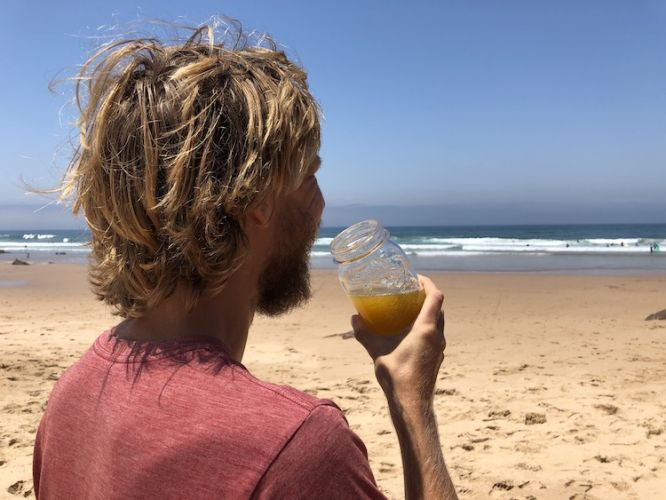 Drinking Juice at Amado Beach
